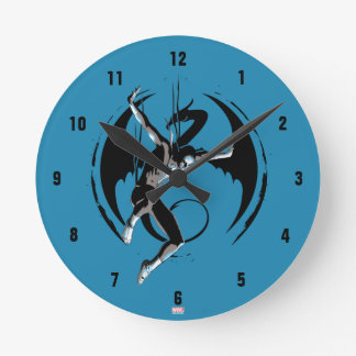 Iron Fist Dragon Landing Round Clock