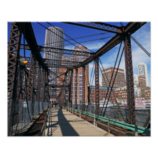 Iron footbridge with Boston Financial district Posters
