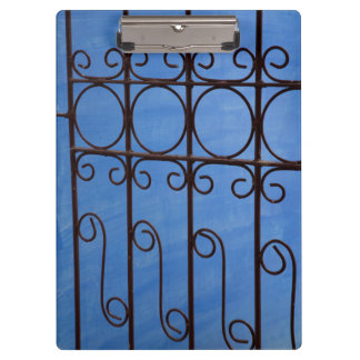 Iron gate pattern in blue, Cuba Clipboard