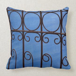 Iron gate pattern in blue, Cuba Cushion