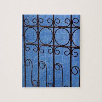 Iron gate pattern in blue, Cuba Jigsaw Puzzle