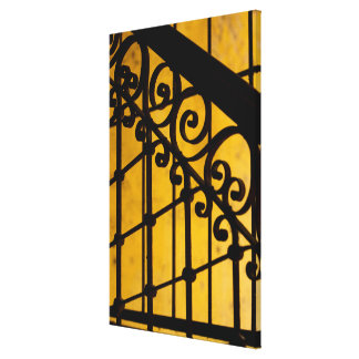 Iron gate pattern in yellow, Cuba Canvas Print