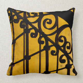 Iron gate pattern in yellow, Cuba Cushion