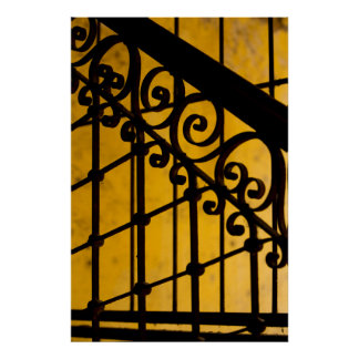 Iron gate pattern in yellow, Cuba Poster
