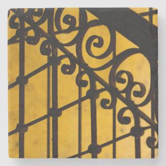 Iron gate pattern in yellow, Cuba Stone Coaster