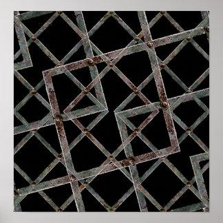 Iron Grid Pattern Print