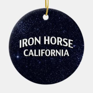 Iron Horse California Double-Sided Ceramic Round Christmas Ornament