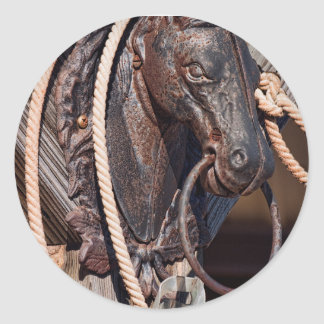 Iron Horse Hitching Post and Rope Round Sticker