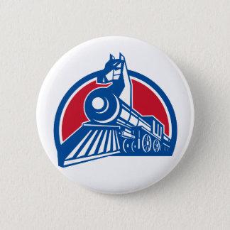Iron Horse Locomotive Circle Retro 6 Cm Round Badge