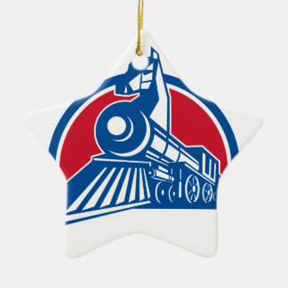 Iron Horse Locomotive Circle Retro Ceramic Ornament