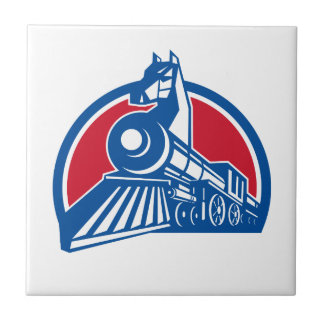 Iron Horse Locomotive Circle Retro Ceramic Tile