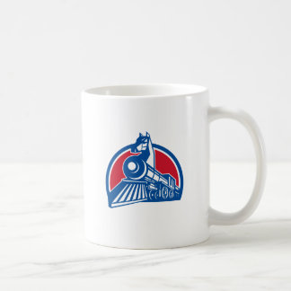 Iron Horse Locomotive Circle Retro Coffee Mug
