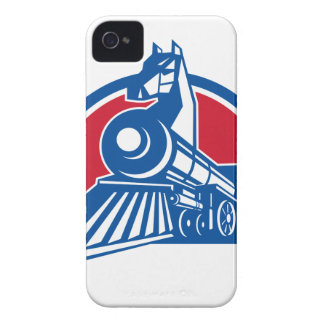 Iron Horse Locomotive Circle Retro iPhone 4 Case-Mate Case