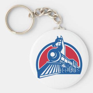 Iron Horse Locomotive Circle Retro Key Ring