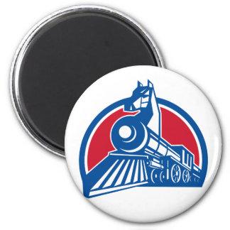 Iron Horse Locomotive Circle Retro Magnet