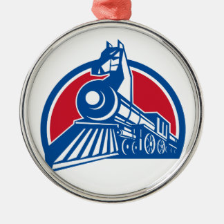 Iron Horse Locomotive Circle Retro Metal Ornament