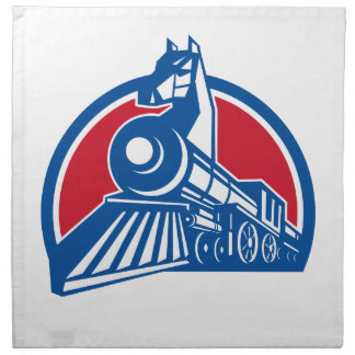 Iron Horse Locomotive Circle Retro Napkin