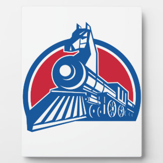 Iron Horse Locomotive Circle Retro Plaque