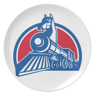 Iron Horse Locomotive Circle Retro Plate