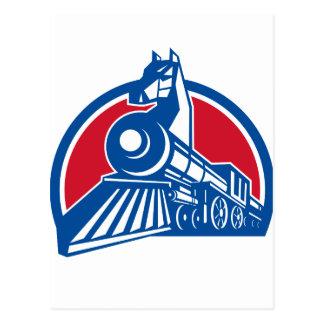 Iron Horse Locomotive Circle Retro Postcard