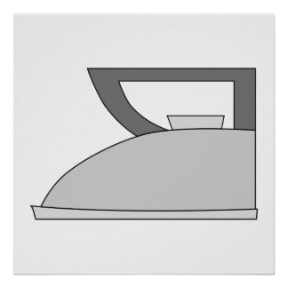 Iron illustration Gray and Black on White Poster