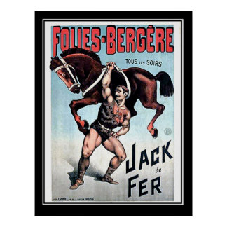 Iron Jack Strong Man Vintage Circus Poster Poster