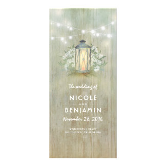 Iron Lantern Lights Floral Rustic Wedding Programs Personalized Rack Card