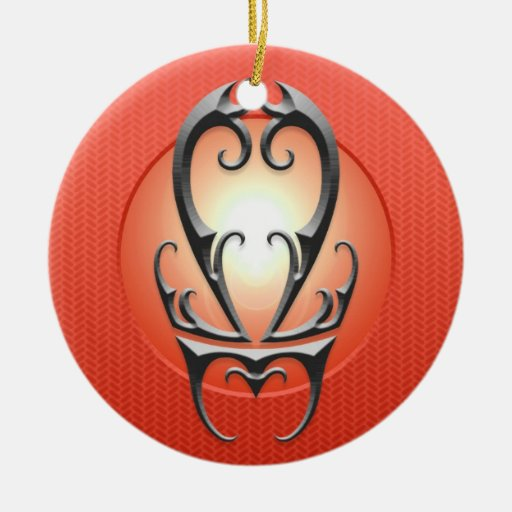 Iron Libra Symbol, red Christmas Tree Ornament