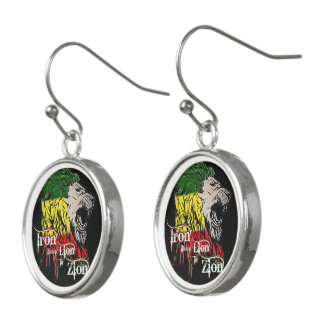 Iron like a Lion in Zion, reggae music, song quote Earrings
