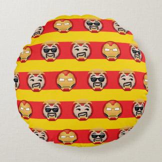 Iron Man Emoji Stripe Pattern Round Cushion