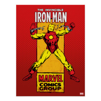 Iron Man Retro Breaking Chains Comic Poster