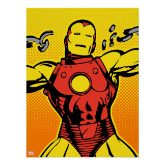 Iron Man Retro Breaking Chains Poster