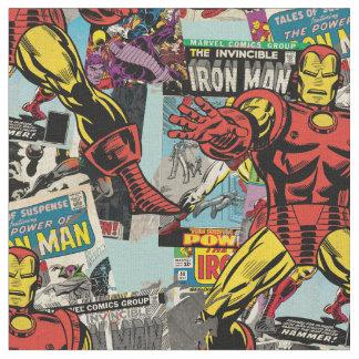 Iron Man Retro Comic Collage Fabric