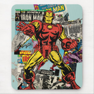 Iron Man Retro Comic Collage Mouse Pad
