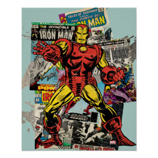 Iron Man Retro Comic Collage Poster