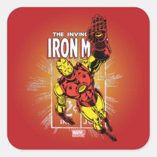 Iron Man Retro Comic Price Graphic Square Sticker
