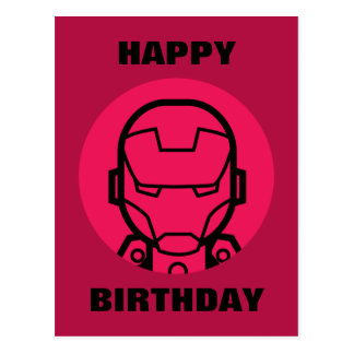 Iron Man Stylized Line Art Icon Postcard