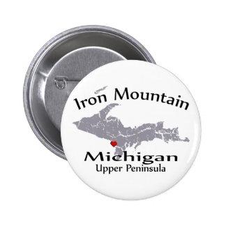 Iron Mountain Michigan Heart Map Design Button Pinback Buttons