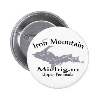 Iron Mountain Michigan Map Design Button Pinback Button