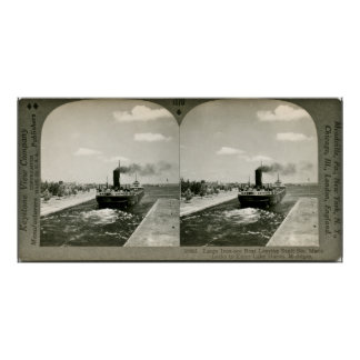 Iron Ore Boat Leaving the Soo - Vintage Stereoview Poster