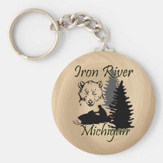 Iron River Michigan Snowmobile Bear Wood Look Basic Round Button Key Ring
