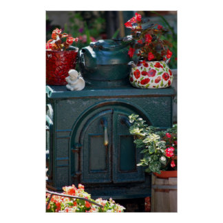 iron stove with flowers print