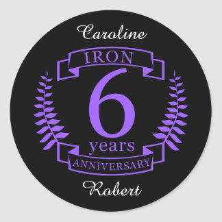 Iron wedding anniversary 6 years classic round sticker
