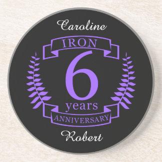 Iron wedding anniversary 6 years coaster