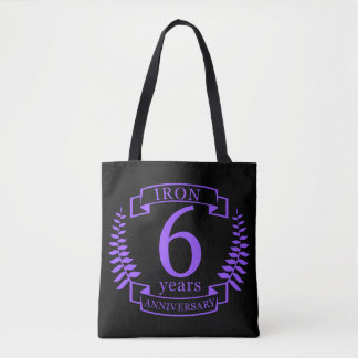 Iron wedding anniversary 6 years tote bag