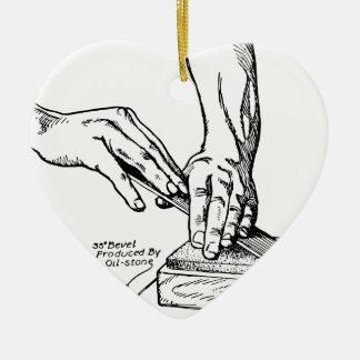 Iron Whetting Illustration Ceramic Heart Decoration