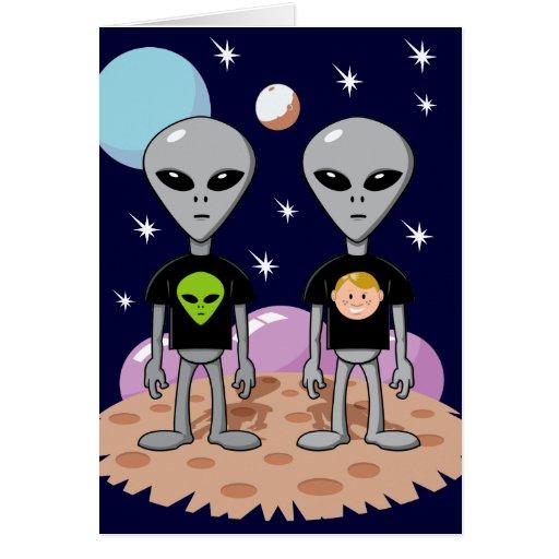 Ironic Alien Birthday Card