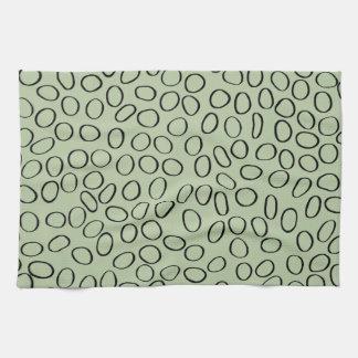 Irregular Black Circle Pattern on Green Tea Towel