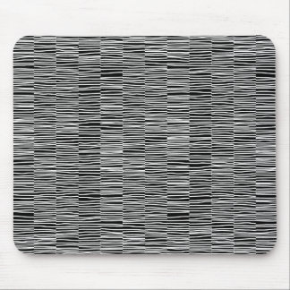Irregular Lines - White on Black Mouse Pad