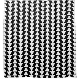 Irregular Triangles - White on Black Shower Curtain